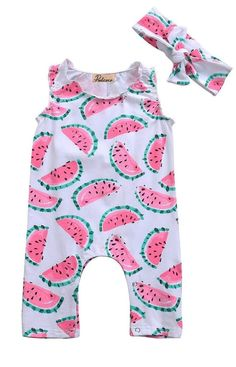Watermelon Baby girl Romper jumpsuit with headband. One in a melon birthday girl outfit. Toddler Swag, Toddler Outfits, Toddler Girl, Kids Outfits, Baby Outfits, Girls Summer Outfits, Summer Girls, Baby Girl Fashion, Kids Fashion