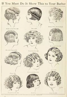 """Vintage advert for hair styles, """"get the flapper look by showing this advert to your barber"""" Vintage Hairstyles, Bob Hairstyles, Flapper Hairstyles, Bob Haircuts, Popular Hairstyles, Hairdos, Female Hairstyles, Victorian Hairstyles, Woman Hairstyles"""
