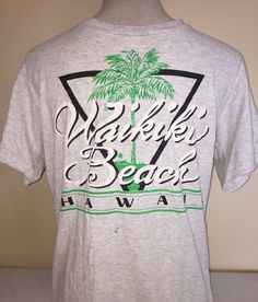 30f842f4 80s Waikiki Beach Hawaii Shirt Vintage Tee Oahu Maui Duke Outrigger Aloha  Palm Tree North Shore Pipeline Diamond Head Big Wave Surf Mai Tai