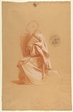 Cleric (lower register; study for wall paintings in the Chapel of Saint Remi, Sainte-Clotilde, Paris, 1858)  Isidore Pils  (French, Paris 1813/15–1875 Douarnenez)    Date:      19th century  Medium:      Red and white chalk, traces of black chalk, on beige paper. Scattered stains.  Dimensions:      18 1/2 x 11 3/4 in. Drapery Drawing, Fabric Drawing, Trois Crayons, Still Life Drawing, Chalk Drawings, Wall Paintings, Gesture Drawing, Cleric, White Chalk