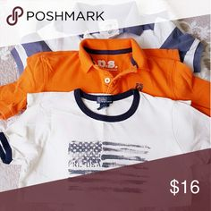 Bundle Boys Polo & Tee Used Great Condition  Orange Size 7 Brand P.S.  Aeropstale Tee Polo Ralph Lauren size 7 Blue and White Striped Polo Crewcuts Size 6-7 Shirts & Tops