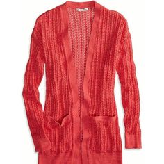 American Eagle Factory Long Line Cardigan, Women's, Size: M, Fuchsia... ($40) ❤ liked on Polyvore