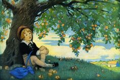 Jesse Willcox Smith - Boy Under an Apple Tree fine art preproduction . Explore our collection of Jesse Willcox Smith fine art prints, giclees, posters and hand crafted canvas products Tree Branch Tattoo, Make A Family Tree, Painting Prints, Art Prints, Paintings, Apple Tree, Children's Book Illustration, Tree Art, Nature Scenes