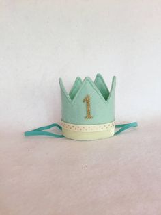 Mint Lemonade Birthday Crown Aqua Felt Mini Birthday Crown