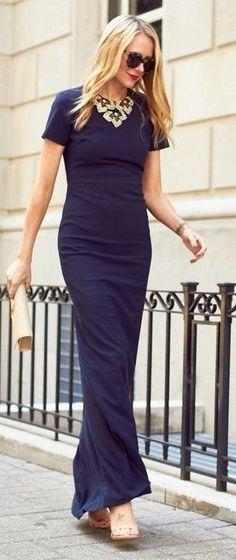 #spring #fashion #stylish #outfitideas | Navy Gown | Fashion Jackson