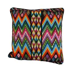 Embroidered Zigzag Pillow    A Guatemalan pillow embroidered by hand with dyed Guatemalan fabric on the back. Each pillow case is filled with a 100% down.