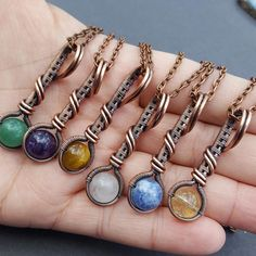 Wire Wrapped Gemstone Necklace Copper Wire Wrapped Pendant