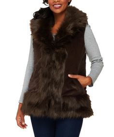 Love this Brown Reversible Faux Fur & Quilted Puffer Vest on #zulily…