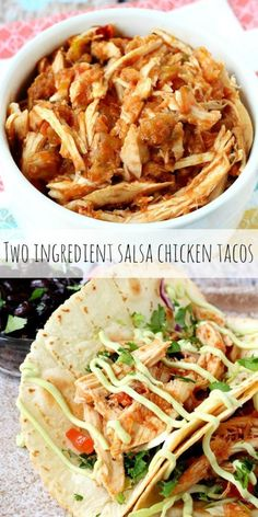 It simply does not get any easier than this, people! Have a favorite salsa? Got about a pound of chicken? Yes… well, you've got the perfect ingredients for taco filling!