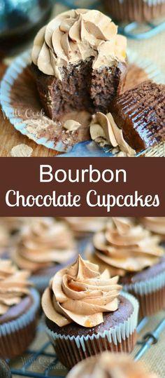 Savory Cupcakes, Gourmet Cupcakes, Cupcake Flavors, Cupcake Recipes, Cupcake Cakes, Bourbon Cake, Sweet Bourbon, Chocolate Bourbon, Chocolate Flavors
