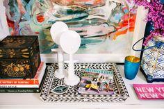 i suwannee - tray with painted bone inlay design