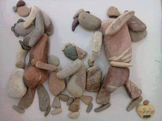 stone art describing the Syrian refugees