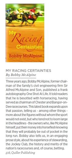My Racing Certainties reviewed by Cheshire Life
