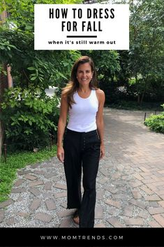 How to dress for fall when it is still hot outside. Fall Transition Outfits, Fall Outfits For Work, Basic Outfits, Casual Fall Outfits, Fall Winter Outfits, Winter Fashion Casual, Fall Fashion Trends, Autumn Winter Fashion, Plus Size Fall Outfit