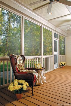 A huge screened porch with room that's big enough for meals and entertaining. The Walnut Creek Plan http://www.dongardner.com/plan_details.aspx?pid=3093 #Porch #Summer #Country