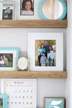 How to build narrow floating shelves with a picture ledge. Such a great way to decorate the end of a hallway! #diy #diyideas #diy #diyideas #diyprojects #diydecor #interiordesign #home #projectoftheday #handmade #homemade #craft #crafter #pinterestinspired #woodwork #blog #makeit #doityourself #doityourself #decor #homedecor