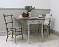 Distressed Painted Victorian Drop Leaf Table