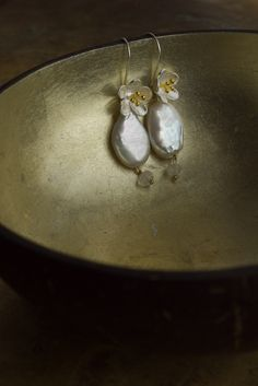 Baroque pearl and sculptural flower blossom earrings from The Pillow Book #bridal #earrings #baroque #pearl #jewelry #bohemian #boho #luxe #statement #jewellery