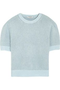Miu Miu Cropped angora and wool-blend sweater | NET-A-PORTER