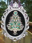 "HUGE Vintage Rhinestone Jewelry Christmas Tree Framed Art 18"" x 13 """