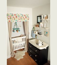 When space is tight, even a small alcove or closet can look cavernous and chock full of possibilities. A closer look at this photo reveals that this small nursery is actually just a corner of a bedroom. And the crib? It's nestled in what was once a small closet.