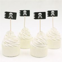 24pcs/lot Pirates Cupcake Toppers Pick Wedding Party Supplies Cross Bones birthday party decorations kids single party(China (Mainland))