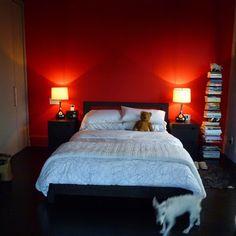 اللون الأحمر في الدهانات للحوائط و الأسقف لغرف النوم المودرن