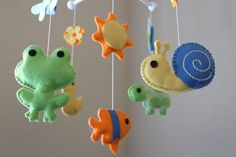 """Baby Crib Mobile - Baby Mobile - Pond Nursery Crib Mobile - Duck, Frog, Turtle """"A day at the Pond""""(You can pick your colors). $80.00, via Etsy."""