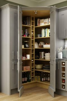Kitchen larders or pantries can come in all shapes and sizes. Elevate your space with practical storage solutions, perfect for a busy kitchen. Browse our favourite kitchen larder styles today. Kitchen Pantry Design, Modern Kitchen Design, Home Decor Kitchen, Diy Kitchen, Kitchen Furniture, Kitchen Interior, Home Kitchens, Kitchen Ideas, Kitchen With Pantry