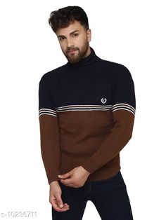 Checkout this latest Sweaters Product Name: *Kvetoo Navy High Neck Sweater Single* Fabric: Acrylic Sleeve Length: Long Sleeves Pattern: Colorblocked Multipack: 1 Sizes: S, M (Chest Size: 27 in, Length Size: 38 in)  L (Chest Size: 27 in, Length Size: 40 in)  XL Country of Origin: India Easy Returns Available In Case Of Any Issue   Catalog Rating: ★4.2 (757)  Catalog Name: Urbane Graceful Men Sweaters CatalogID_1854304 C70-SC1208 Code: 084-10236711-069