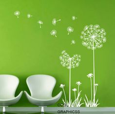 Dandelions in the Wind   White Green Vinyl Wall by coolgraphicss, $33.00