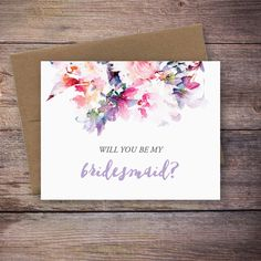 Printable Will You Be My Bridesmaid Card  by LarissaKayDesigns