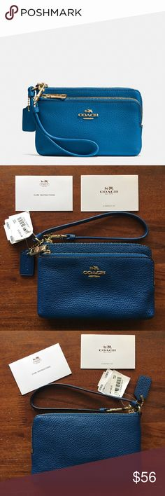 """💙 Coach Pebbled Leather Double-Zip Wristlet, NWT Brand-new, authentic Coach Pebbled Leather Double-Zip Wristlet in Denim with Light Gold hardware. Style #52900, LIDEN. Approximate dimensions: 6"""" L x 4"""" H. Features pebbled leather; 2 separate zippered sections; fabric interior; 2 card slots in back section; mini Coach leather hangtag; Coach horse & carriage logo on front; wrist strap with clip; and zip-top closures. This versatile piece will fit smaller cell phones, but not an iPhone 6S…"""