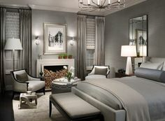 graue-Designs-schlafzimmer-kamin - lampe in weiß- wandfarbe grau