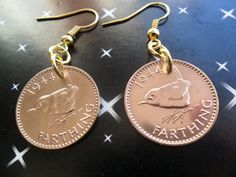 70th Birthday present 1944 farthing coin earrings by staffscoins