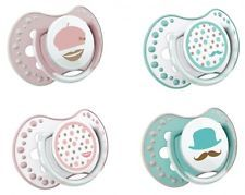 LOVI Retro Baby Infant Dummy Pacifier Teat Nipple Soother Mustache France 2 pack