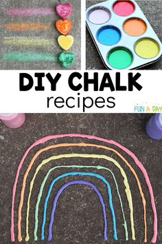 Grab your chalk and head outside with the kids. 20 sidewalk chalk ideas to inspire you and the kids. PLUS DIY chalk recipes in case you don't have any. Summer Preschool Activities, Rainbow Activities, Preschool Arts And Crafts, Outdoor Activities For Kids, Easy Arts And Crafts, Craft Stick Crafts, Crafts For Kids, Sensory Activities, Toddler Activities