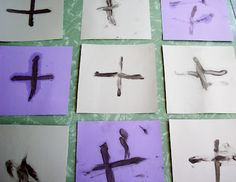 ash wednesday ash cross activity. we did this and it turned out great! thanks sarah of green tables! :) Holy Week Activities, Church Activities, Easter Activities, Dementia Activities, Preschool Ideas, Craft Ideas, Advent, Religion Activities, Catholic Lent