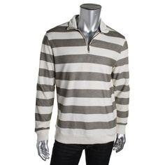 Club Room Mens Pique Striped 1/4 Zip Shirt
