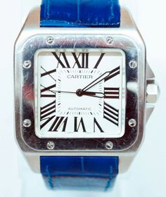 d476146799b Cartier Santos 100 XL Stainless Steel Automatic Watch - Blue Band - Ref.