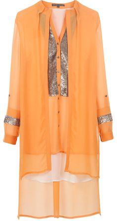 Orange layered sequinned yoke tunic by ROHIT GANDHI AND RAHUL KHANNA. Shop at http://www.perniaspopupshop.com/whats-new/rohit-gandhi-and-rahul-khanna-7451