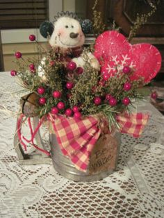 HAND CRAFTED SNOWMAN VALENTINES HEART SWEET ANNE IN VINTAGE FLOUR SIFTER