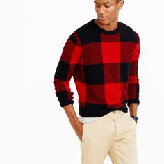 Crew for the Lambswool buffalo plaid sweater for Men. Find the best selection of Men Clothing available in-stores and online. J Crew Men, Men's Grooming, Gentleman Style, Cool Patterns, Buffalo Plaid, Red Plaid, Sweater Weather, Black Sweaters, Dapper