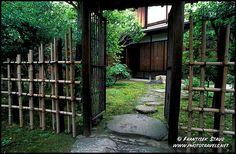 Photograph of Bamboo fence and gate in the Shosei-en garden, Higashi Hongan-ji Temple, Kyoto, Japan photo