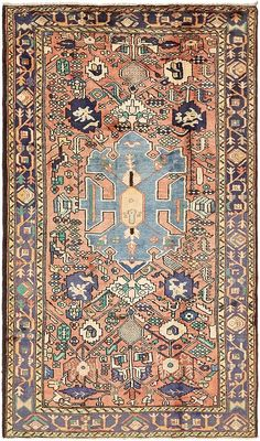This Semi-Antique Authentic Persian Hamedan rug is <strong>Hand Knotted in Iran</strong> of 100% Natural Wool and has <strong>120 knots</strong> per square inch.  Colors found in this rug include: Red, Blue, Burgundy, Green, Ivory, Navy Blue, Olive, Peach. The primary color is Red.   This rug is in Very Good condition.   The measurements for this rug are: 5 feet 7 inches wide by 9 feet 7 inches long.