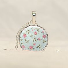 Shabby Chic Pendant Necklace, Pink and Blue Flowers Jewelry with free chain CS43 by prideandpendants on Etsy