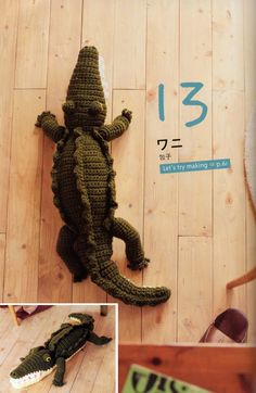 COCODRILO AMIGURUMI patrón japonés con dibujos. Amigurumi Crocodile - free crochet pattern