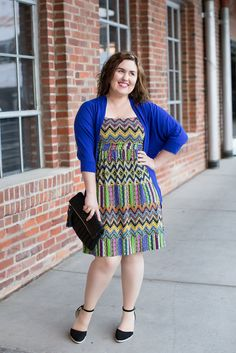 Rebecca's Dress of Many Colors // Secondhand dress // Merona cardigan // Urban Expressions Clutch // Target wedges // Rocksbox Gorjana necklade