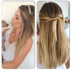 Penteado meio preso da Mica Rocha; hairstyles; half up