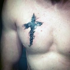Black Cross Guys Religious Tattoo On Chest